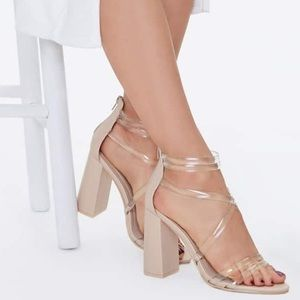 NWT Forever 21 Translucent Strappy Block Heels 5.5